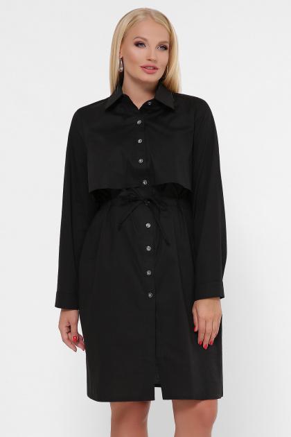 бордовое платье для полных женщин. 0301 Платье-рубашка. Цвет: черный