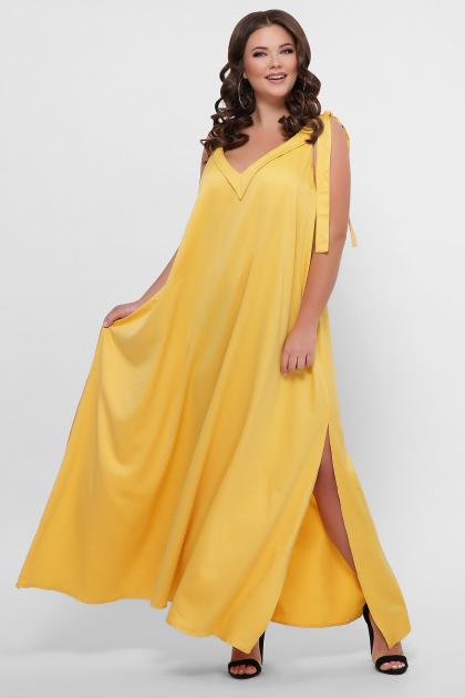 длинное платье больших размеров. 0302 Платье пляжное. Цвет: горчица