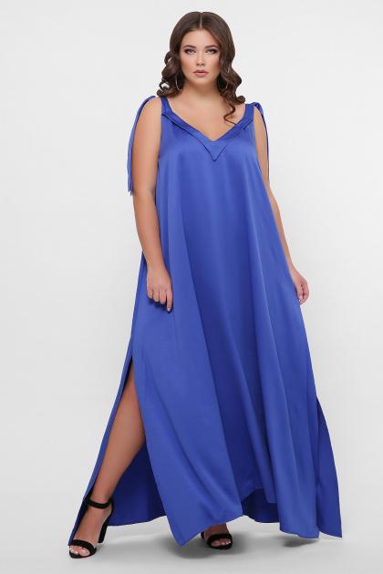 длинное платье больших размеров. 0302 Платье пляжное. Цвет: синий