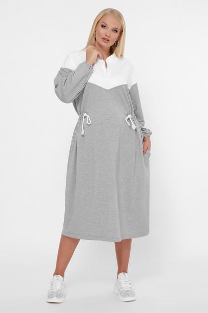спортивное платье для полных женщин. 0303 Платье спорт. Цвет: серый