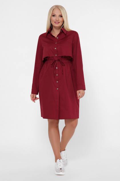 бордовое платье для полных женщин. 0301 Платье-рубашка. Цвет: бордо