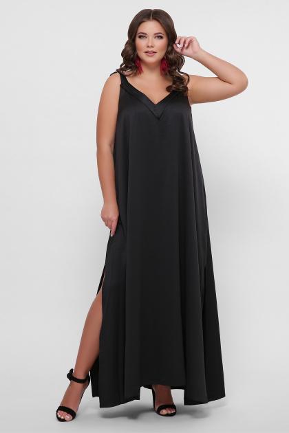 длинное платье больших размеров. 0302 Платье пляжное. Цвет: черный