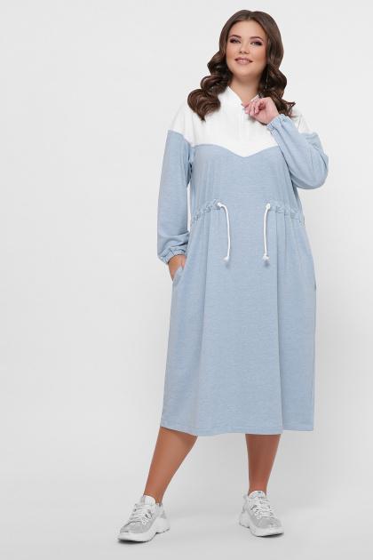 спортивное платье для полных женщин. 0303 Платье спорт. Цвет: голубой