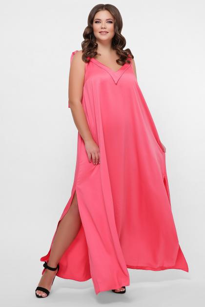 длинное платье больших размеров. 0302 Платье пляжное. Цвет: розовый