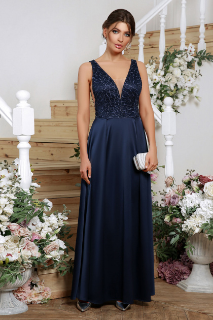 лиловое платье в пол. платье Мэйси б/р. Цвет: синий