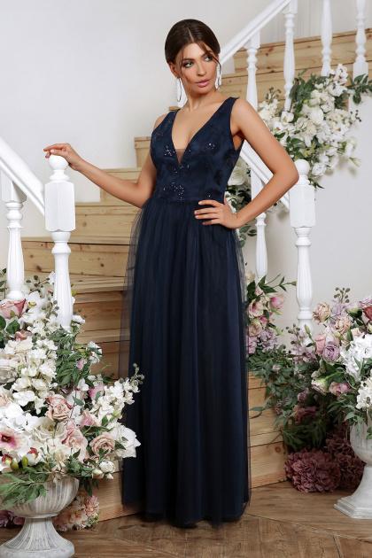 длинное синее платье. Платье Вайнона б/р. Цвет: синий