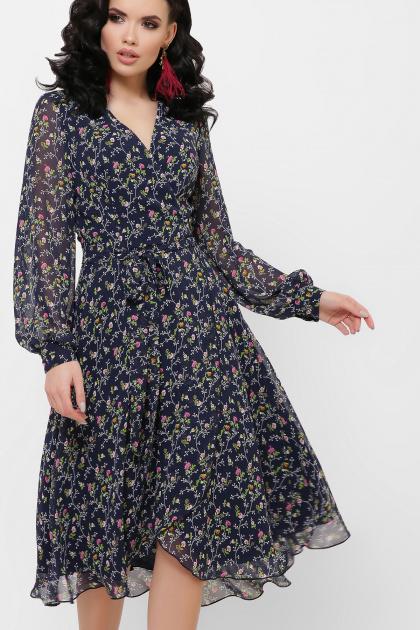 нежное платье на запах. Платье Алеста д/р. Цвет: синий-цветы розов.