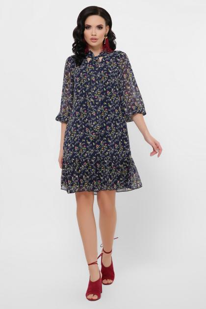 платье из шифона с рукавом три четверти. платье Малика д/р. Цвет: синий-цветы розов.