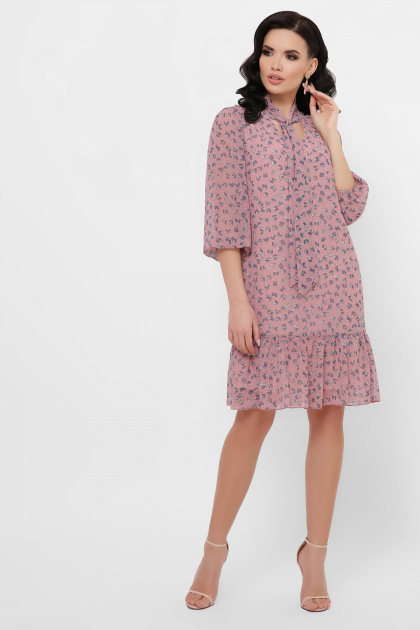 платье из шифона с рукавом три четверти. платье Малика д/р. Цвет: лиловый-цветы синие