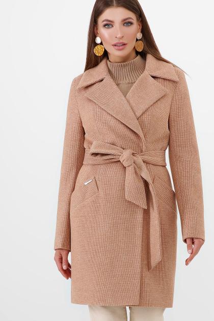 бежевое пальто с поясом. Пальто ПМ-100. Цвет: 11-горчица