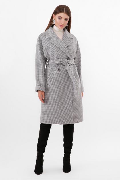 двубортное бежевое пальто. Пальто ПМ-135. Цвет: 294-серый
