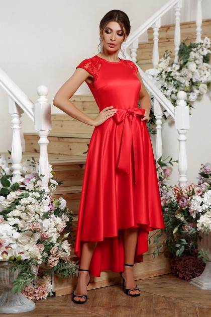 атласное красное платье. платье Нинель к/р. Цвет: красный