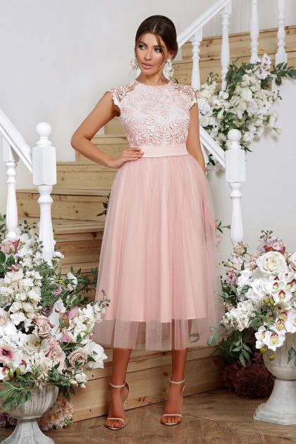 пышное платье миди. платье Джуди б/р. Цвет: персик