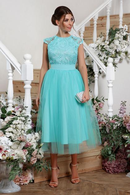 пышное платье миди. платье Джуди б/р. Цвет: мята