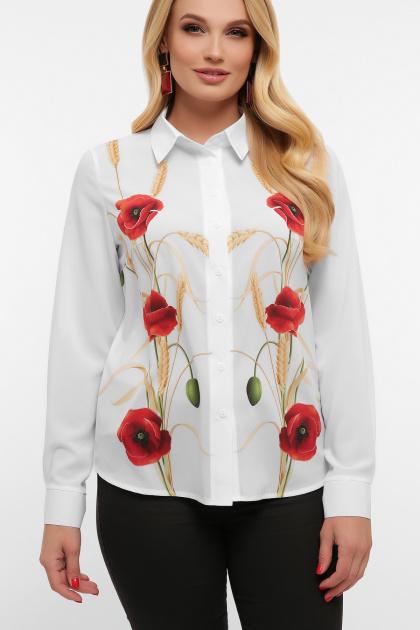 блузка с маками больших размеров. Маки блуза Лекса-Б КШ д/р. Цвет: белый