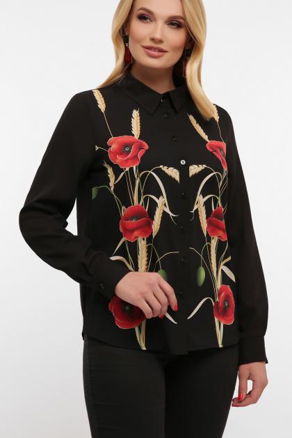 блузка с маками больших размеров. Маки блуза Лекса-Б КШ д/р. Цвет: черный