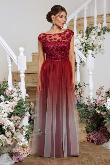 бордовое вечернее платье. платье Августина б/р. Цвет: бордо