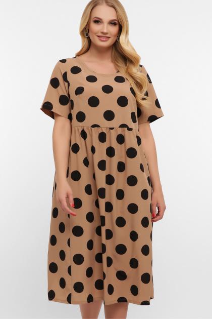 . платье Ирма-Б к/р. Цвет: капучино-черный горох б.