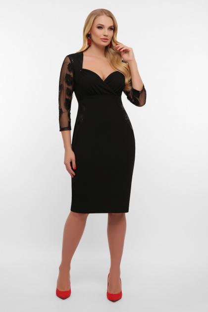 лиловое платье больших размеров. платье Сусанна-1Б д/р. Цвет: черный