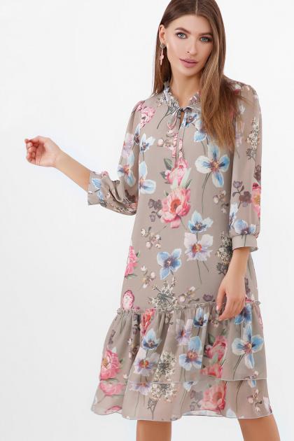 белое платье с цветочным рисунком. платье Элисон 3/4. Цвет: оливка-цветы б.