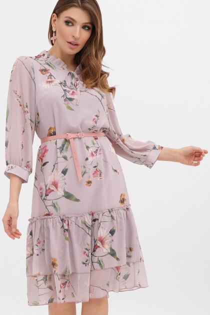белое платье с цветочным рисунком. платье Элисон 3/4. Цвет: лиловый-цветы б.