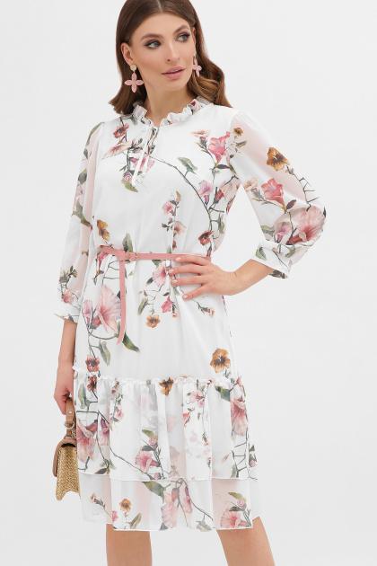 белое платье с цветочным рисунком. платье Элисон 3/4. Цвет: белый-цветы б.