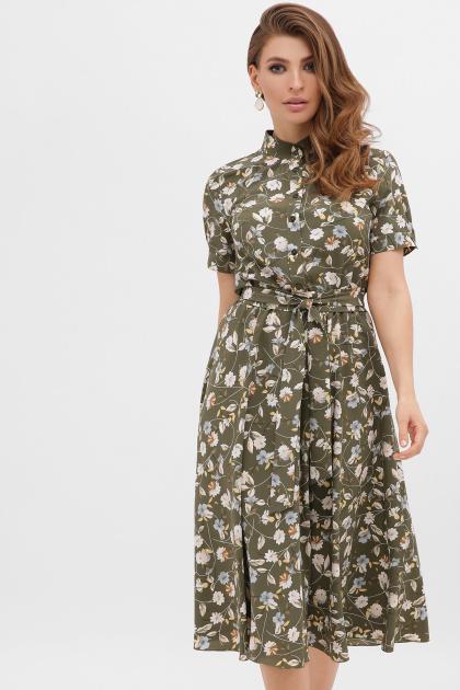 . платье Изольда-Б к/р. Цвет: хаки- цветы