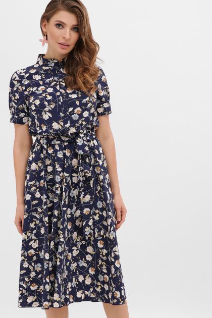 . платье Изольда-Б к/р. Цвет: синий-цветы