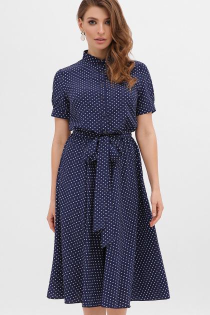 . платье Изольда к/р. Цвет: синий - белый м. горох
