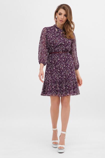 платье из шифона с рукавом три четверти. платье Малика д/р. Цвет: сливовый-цветы м.
