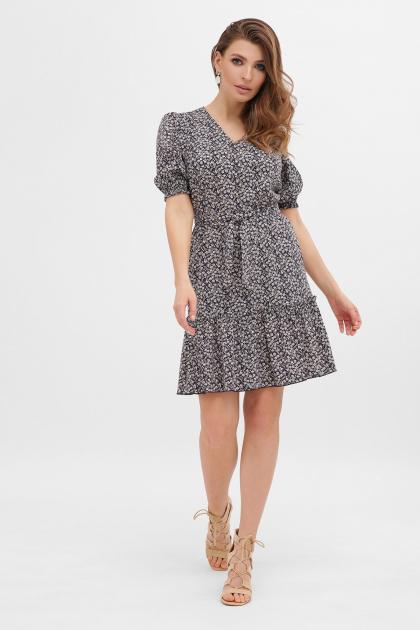 короткое платье с принтом. платье Мальвина к/р. Цвет: синий-м. цветы