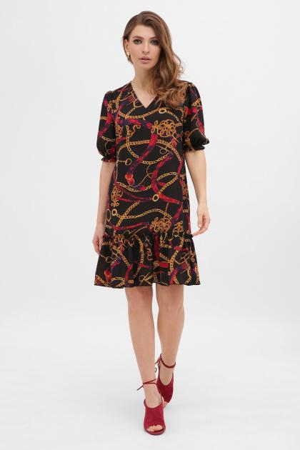 короткое платье с принтом. платье Мальвина к/р. Цвет: цепи-ремешки красные