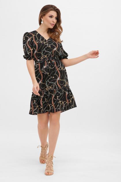 короткое платье с принтом. платье Мальвина к/р. Цвет: цепи-украшения