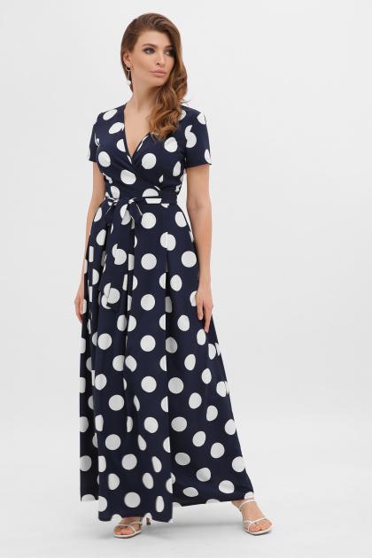 платье макси в горошек. платье Шайни к/р. Цвет: синий-белый горох б.