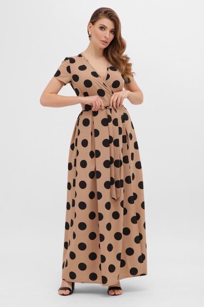 горчичное платье макси. платье Шайни к/р. Цвет: капучино-черный горох б.
