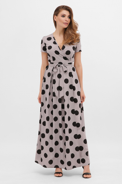 платье макси в горошек. платье Шайни к/р. Цвет: серый-черный горох б.