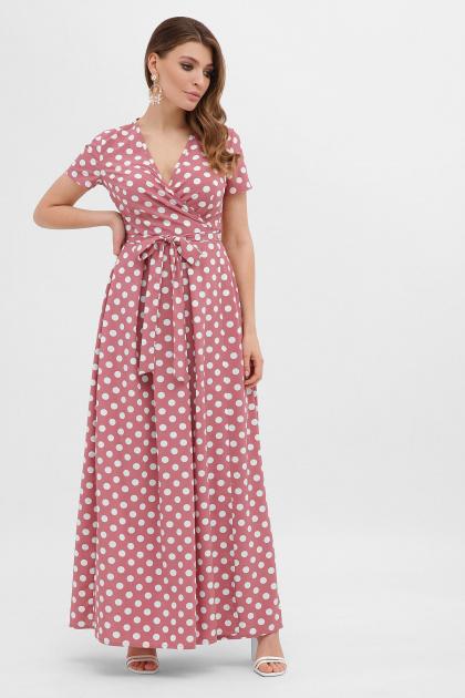 горчичное платье макси. платье Шайни к/р. Цвет: т.розовый-белый горох
