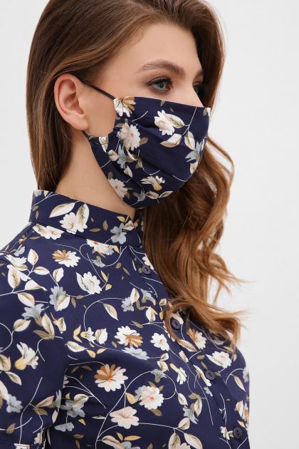 тканевая маска в горошек. Маска №1. Цвет: синий-цветы