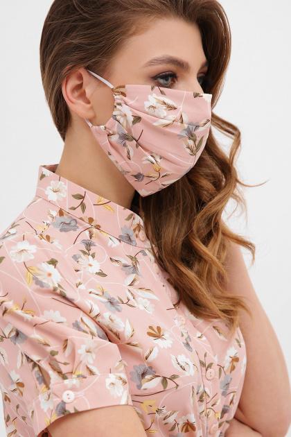 синяя маска на лицо. Маска №1. Цвет: персик-цветы