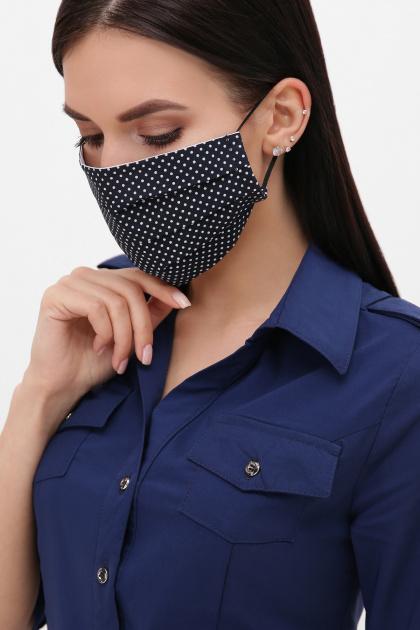 модная маска в горошек. Маска №4. Цвет: синий - белый м. горох