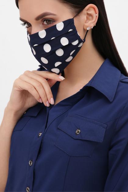 защитная черная маска. Маска №1. Цвет: синий - белый горох