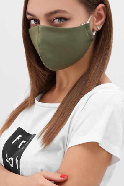 трикотажная синяя маска. Маска №5. Цвет: хаки