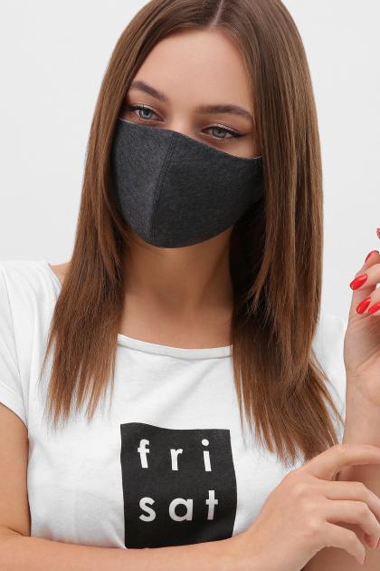 трикотажная синяя маска. Маска №5. Цвет: т. серый