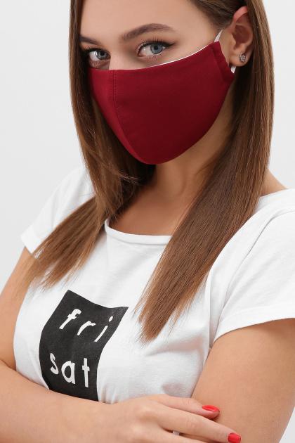 трикотажная синяя маска. Маска №5. Цвет: бордовый