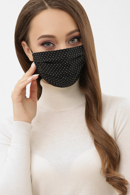 защитная маска цвета хаки. Маска №1. Цвет: черный-белый м. горох