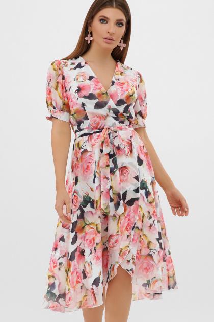 цветастое платье из шифона. платье Алеста к/р. Цвет: белый-розы