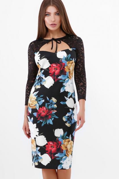 нарядное платье с цветами. Пионы платье Карима д/р. Цвет: черный
