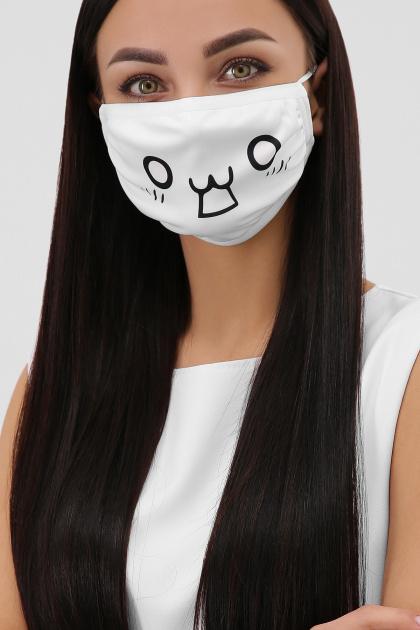 белая маска с рисунком. Принт 2 Маска №6-П. Цвет: белый