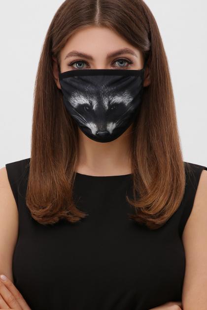 модная маска с животным принтом. Принт 31 Маска №6-П. Цвет: черный