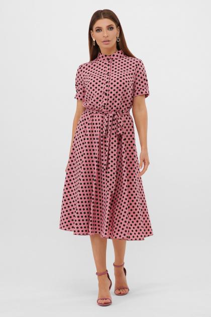 . платье Изольда-Б к/р. Цвет: розовый-черный горох с.